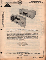 Magnecord 100-B 100-T 100-W 101 102 128-CG Reel-to-Reel Stereo Tape Recorder 1959 PhotoFact Folder Repair Service Guide Schematics Howard W. Sams