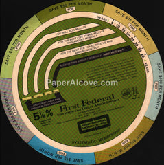 First Federal Savings and Loan Money Wheel S&L of Washington DC 1960s-1970s bank
