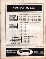 Comfort Multi-Purpose Sprayers 1965 Owner's Manual