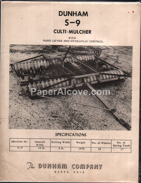 Dunham S-9 Culti-Mulcher 1960s brochure farm implement