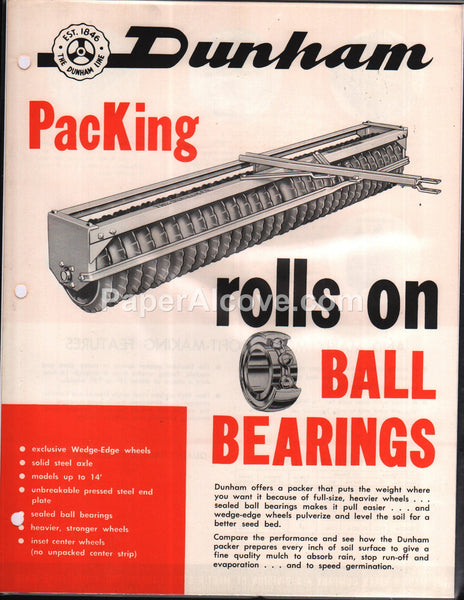 Dunham PacKing Packer 1950s farm brochure