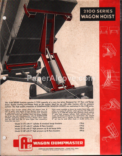 AEC 2100 Series Dumpmaster Wagon Hoist 1950s brochure farm equipment