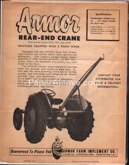 Armor Rear-End Tractor Crane 1950s brochure farm implement
