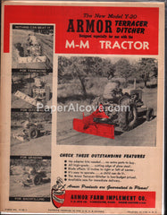 Armor Model Y-20 Terracer Ditcher M-M Tractor 1950s brochure farm implement