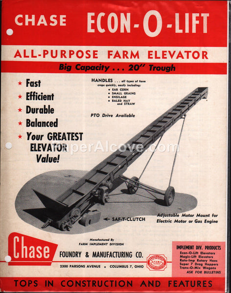 Chase Econ-o-Lift All-Purpose Farm Elevator 1950s brochure farm equipment