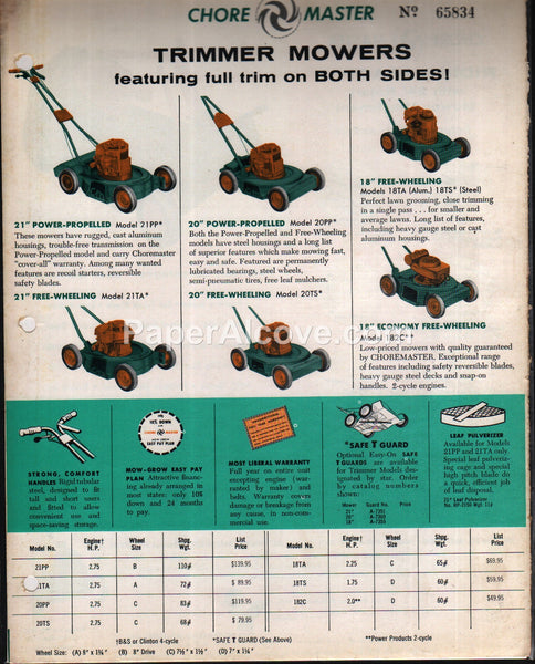 ChoreMaster Trimmer Mowers Riding Tractors 1958 brochure farm equipment