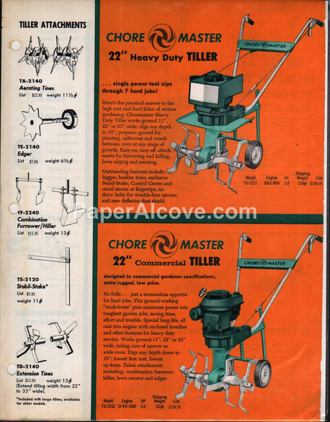 "ChoreMaster 22"" Tillers 1960 brochure farm equipment"
