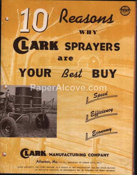 Clark Sprayers 1957 farm equipment brochure Atherton MO