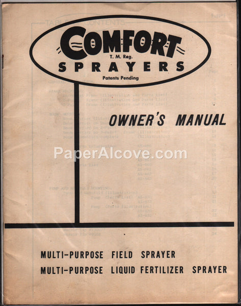 Comfort Field Liquid Fertilizer Sprayer Owner's Manual 1956 multi-purpose farm equipment