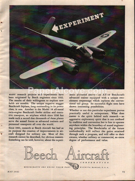 Beech Aircraft AT-10 trainer airplane Wichita 1945 vintage print ad