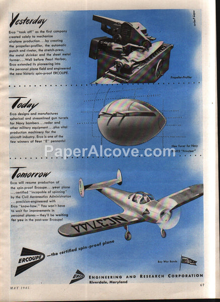 Erco Ercoupe Plane Navy PB4Y2 Privateer Riverdale MD 1945 vintage print ad