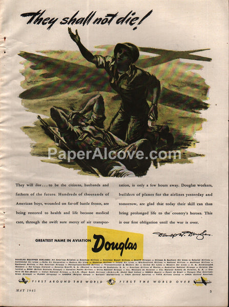 Douglas Aircraft WWII wounded soldier medic 1945 vintage print ad