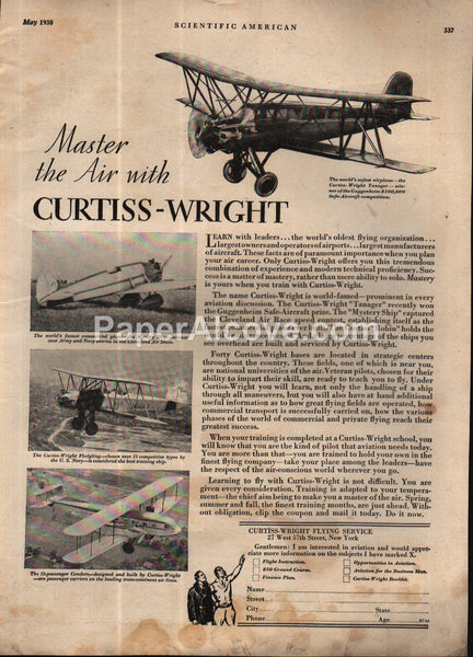 Curtiss-Wright Flying Service Airplanes 1930 vintage print ad