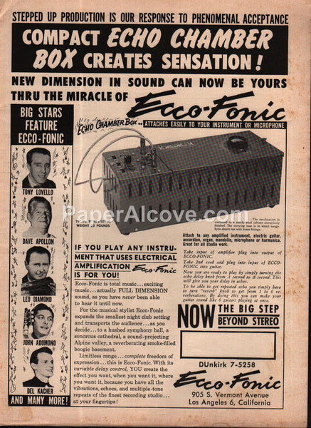 Ecco-Fonic Echo Chamber Box Electronic Music 1960 vintage print ad