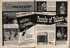Mercury Outboards fishing water skiing 1961 vintage print ad