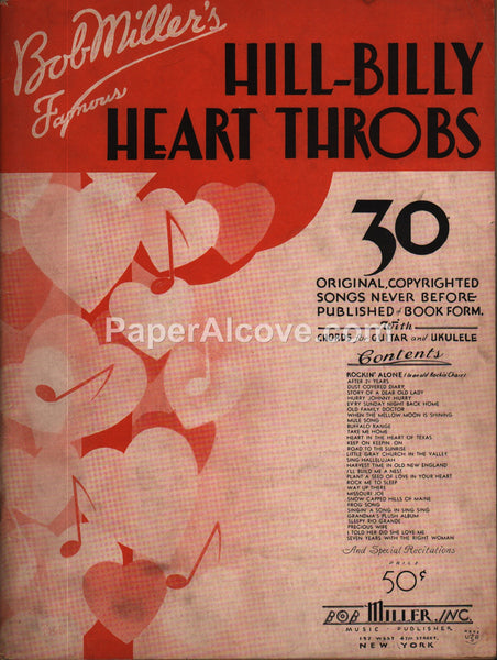 Bob Miller's Famous Hill-Billy Heart Throbs for Guitar Ukulele 1934 original vintage music song book