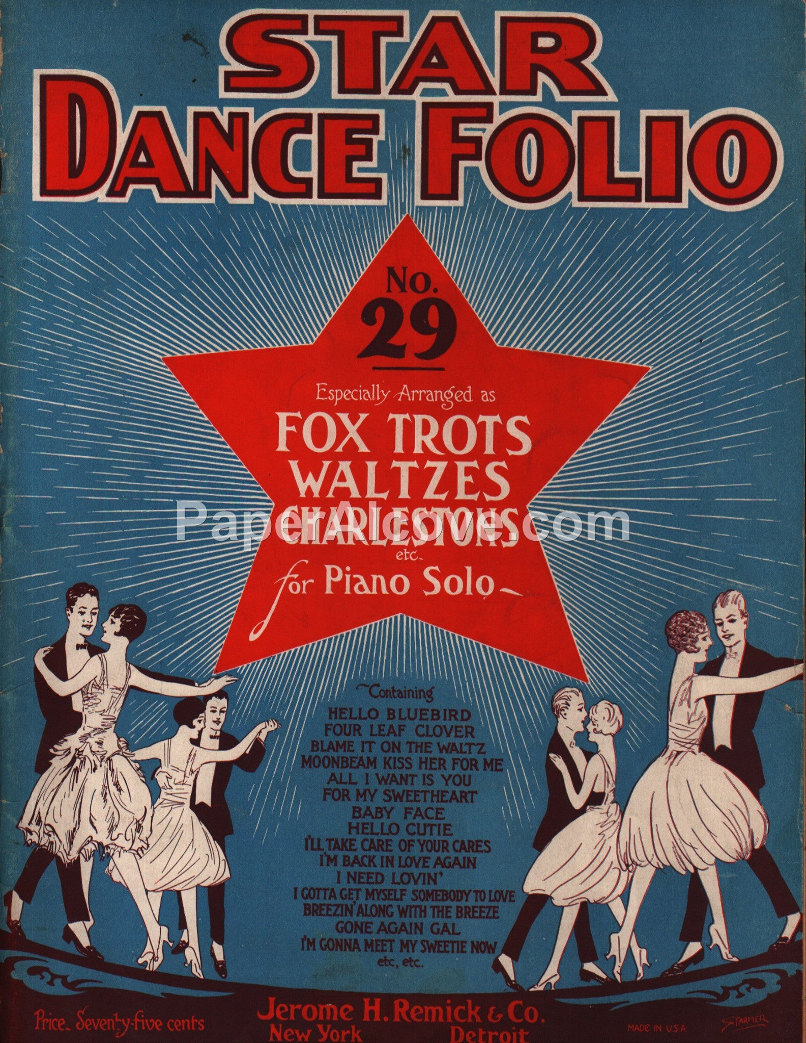 Star Dance Folio for Piano No  29 1927 original vintage music song book  Jerome H  Remick