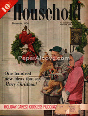 Household December 1956 original vintage magazine Christmas cover