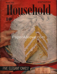 Household March 1955 original vintage magazine cakes