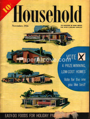 Household November 1956 original vintage magazine home low-cost home plans