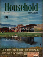 Household June 1956 original vintage magazine mid-century modern homes