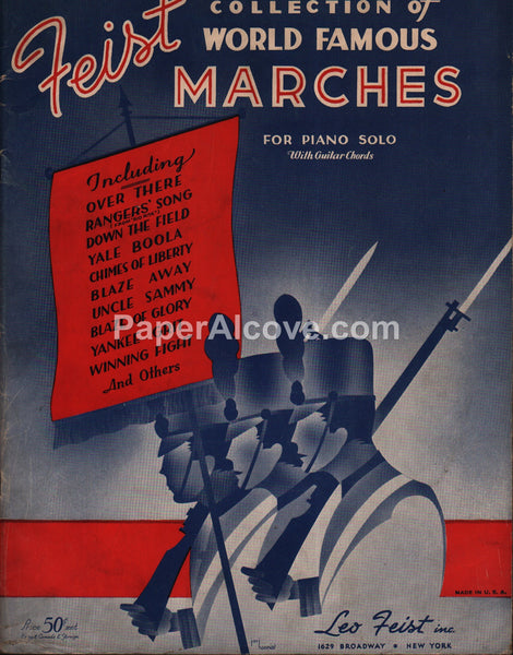 Feist Collection of World Famous Marches for Piano 1936 original vintage music song book
