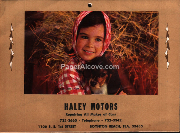 Haley Motors Boynton Beach Florida 1974 unused advertising calendar