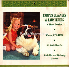 Campus Cleaners Oberlin 1970 unused advertising calendar