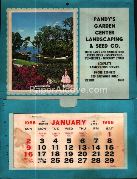 Pandy's Garden Center Landscaping & Seed Co. Elyria Ohio 1966 unused advertising calendar