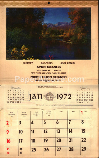 Avon Cleaners North Eaton Ohio 1972 unused advertising calendar