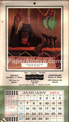 Chagrin Falls Music Center Ohio 1974 unused advertising calendar chimpanzees
