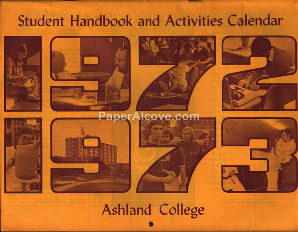Ashland College Calendar 1972 1973 school year unused calendar