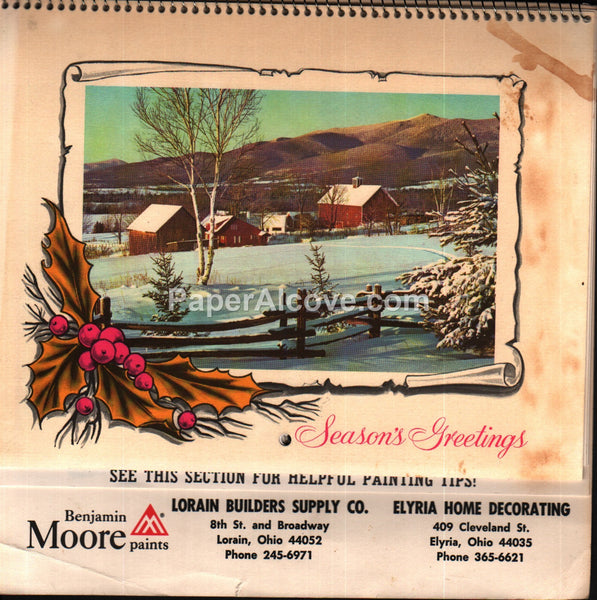 Benjamin Moore Paint Lorain Elyria Calendar 1973 unused advertising calendar