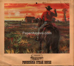 Ponderosa Steak House Restaurant Calendar 1973 unused advertising calendar cowboy horse oil rig