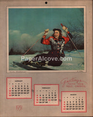 The Cleveland Press newspaper 1951 unused advertising calendar