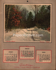 The Cleveland Press newspaper 1953 unused advertising calendar