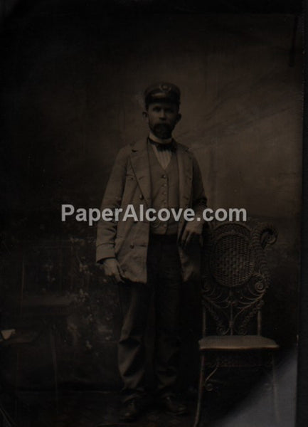 Man in uniform 1800s tintype vintage photograph