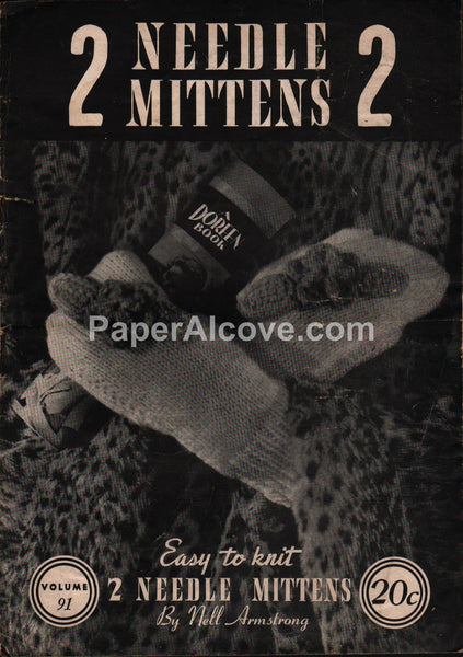 2 Needle Mittens 1945 pattern book Doreen Knitting #91