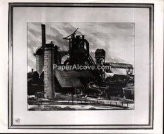 Republic Steel Mills painting by Howard Summers vintage photograph Canton Art Institute