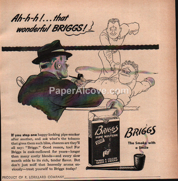 Briggs Tobacco Smoking Pipe Mixture boxing 1943 vintage print ad