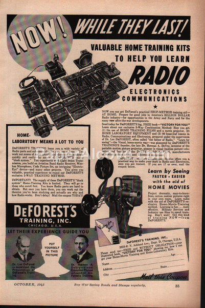 DeForest's Training Radio Electronics Communications 1943 vintage print ad