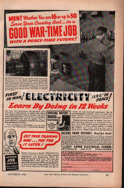 Coyne Electrical School Electricity Good War-Time Job WWII 1943 vintage print ad