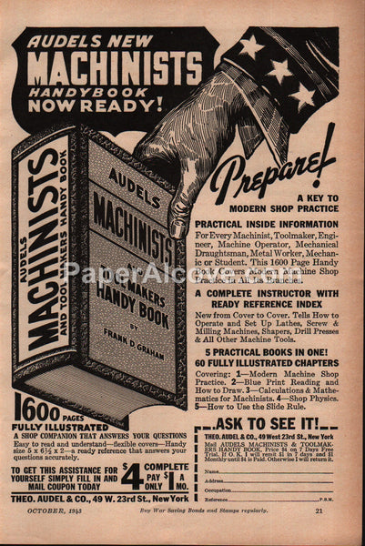 Audels Machinists and Toolmakers Handy Book 1943 vintage print ad