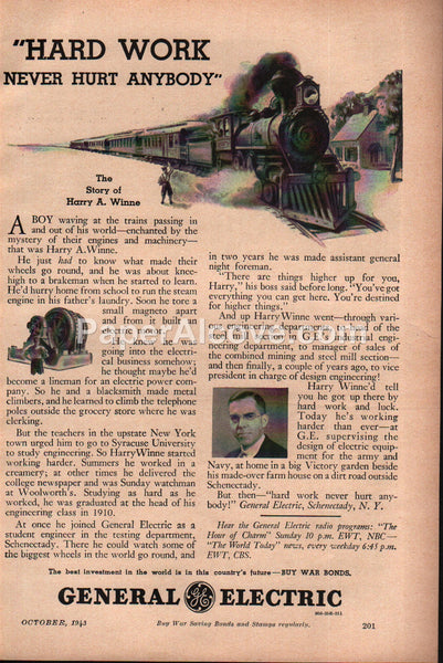General Electric Hard Work Harry Winne Story Train 1943 vintage print ad