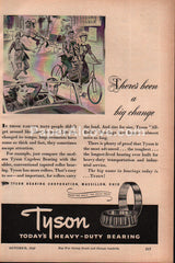 Tyson Cageless Bearings Massillon Ohio tandem bicycle 1943 vintage print ad