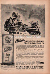 "Atlas Press F-Series 10"" Lathe Kalamazoo MI 1943 vintage print ad"