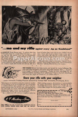 O.F. Mossberg Rifle WWII Jap on Guadalcanal 1943 vintage print ad