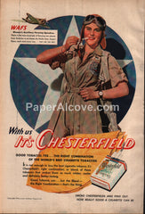 Chesterfield Cigarettes WWII WAF pilot 1943 vintage print ad