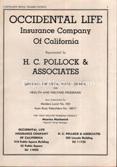 Occidental Life Insurance Company of California H.C. Pollock Cleveland 1956 vintage print ad