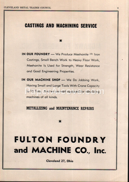 Fulton Foundry and Machine Co. castings machining Cleveland Ohio 1956 vintage print ad